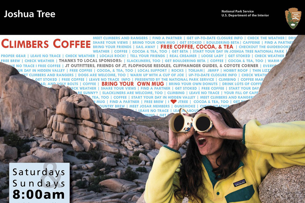 JTNP flyer for Climber Coffee at Hidden Valley Campground | Courtesy of JTNP.