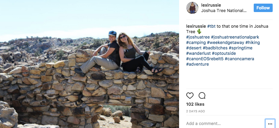 Couple poses illegally atop ruins in Joshua Tree NP | Image: via Instagram