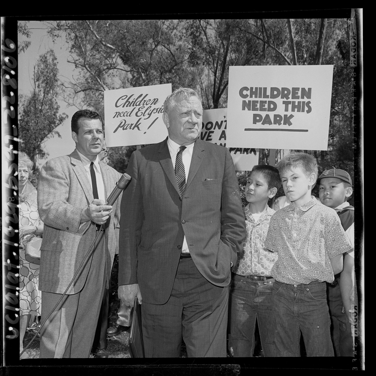 Justice William O. Douglas at an Elysian Park rally, March 1965