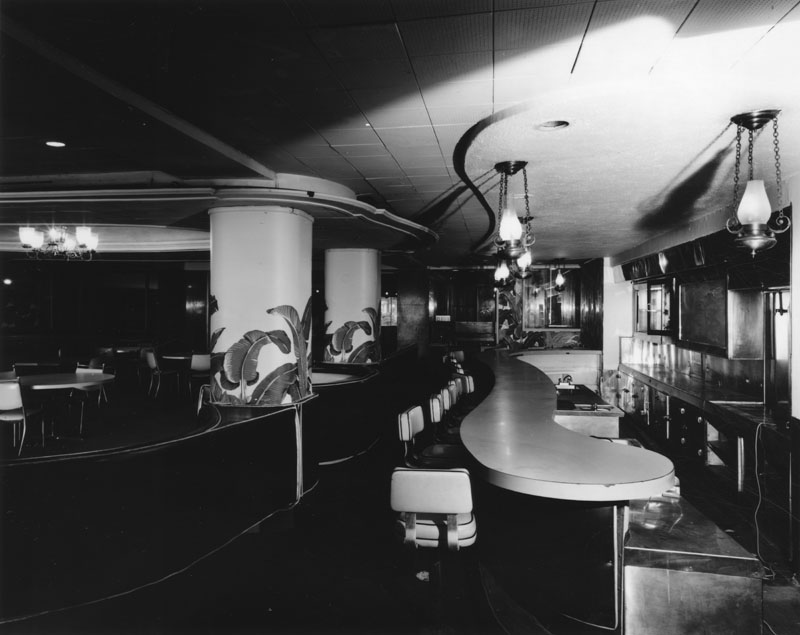 The Ambassador's coffee shop, designed by architect Paul Revere Williams