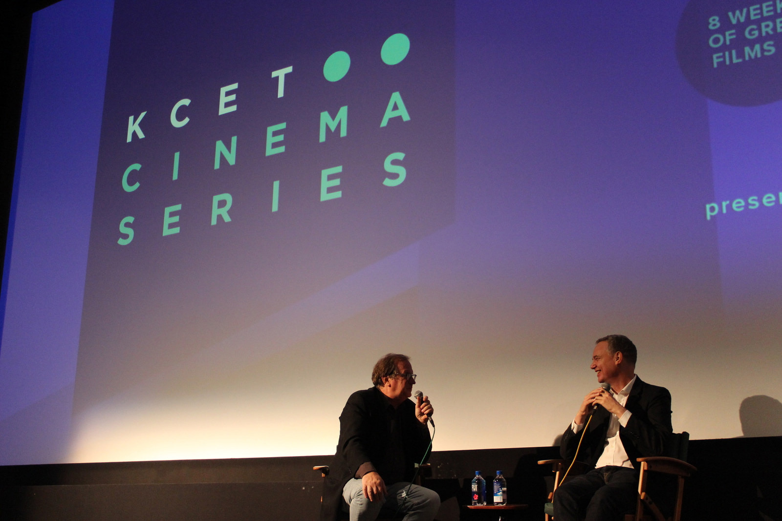 "Cinema Series host Pete Hammond and Writer/Director Wash Westmoreland take questions from the audience after a screening of ""Colette"""