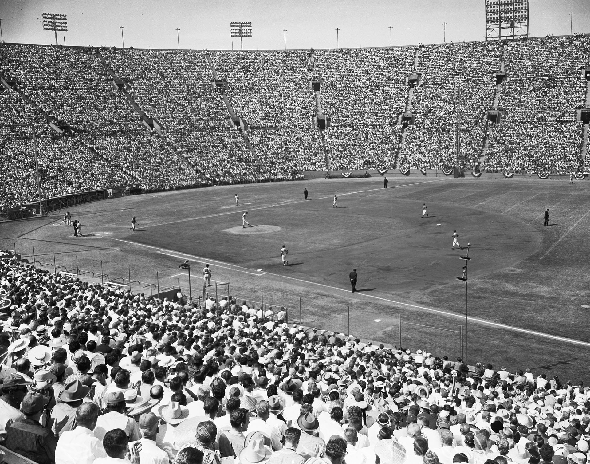 A baseball diamond fit poorly within the confines of the Coliseum