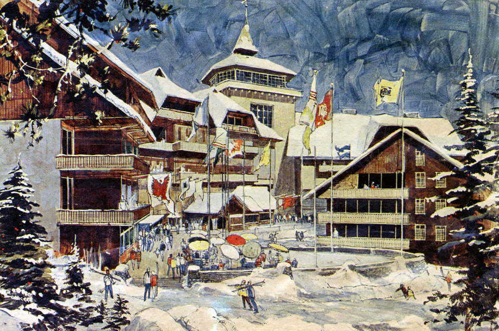 Artist's rendering of Walt Disney Productions' proposed Mineral King ski village