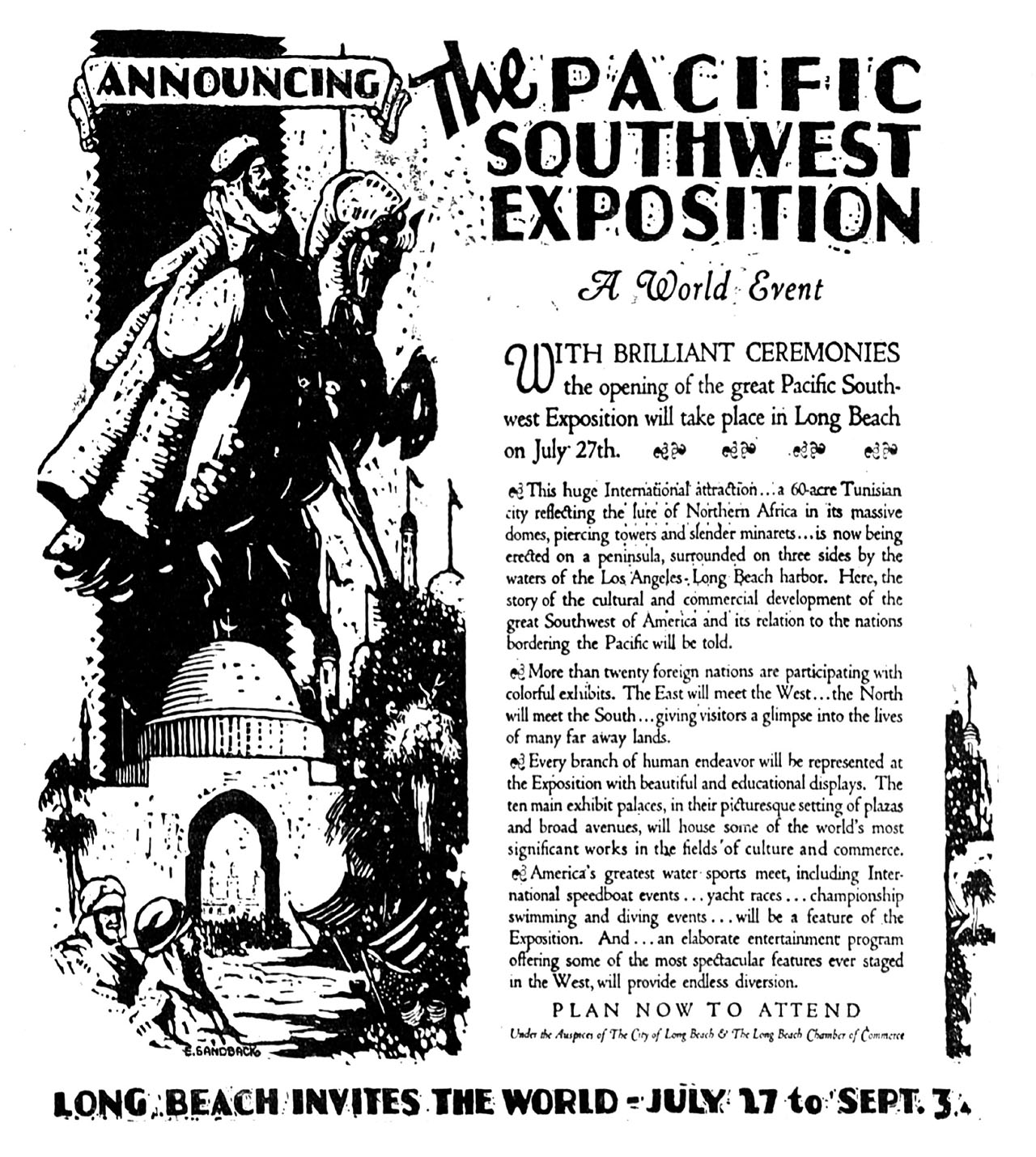 Come to the Fair. The ballyhoo of the fair ignored the incongruity of celebrating Pacific Rim nations with a mock North African town. Advertisement from the author's collection