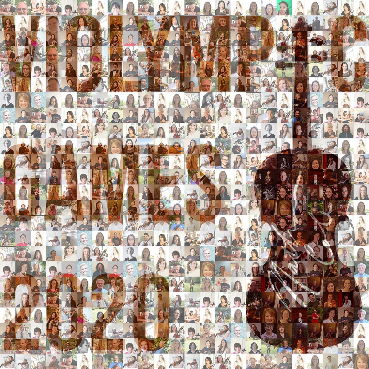 A composite photo made up of violinists faces and a violin promoting the 2020 Violympic Games. | Courtesy of Violympic Games