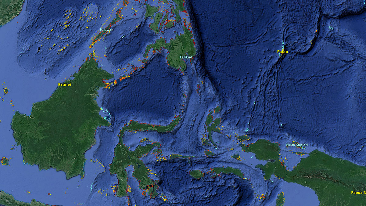 The Coral Triangle | Map: KCET/Google Earth/WRI