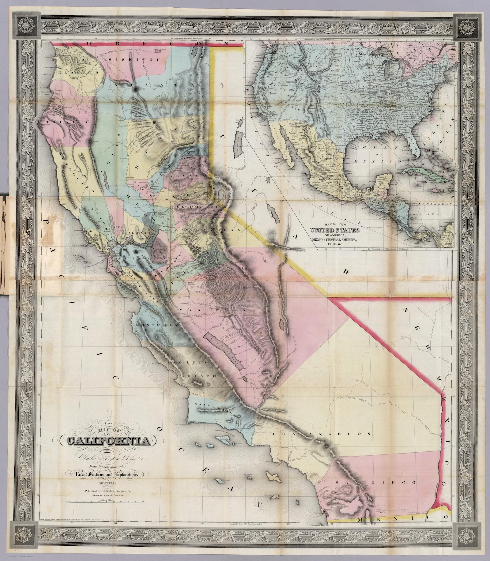 A New Map Of California by Charles Drayton Gibbes (1852)