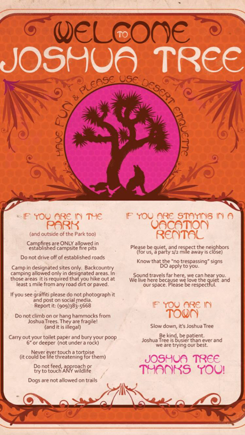 This poster was created by local tourism business Coyote Corner to educate visitors | Image: Coyote Corner