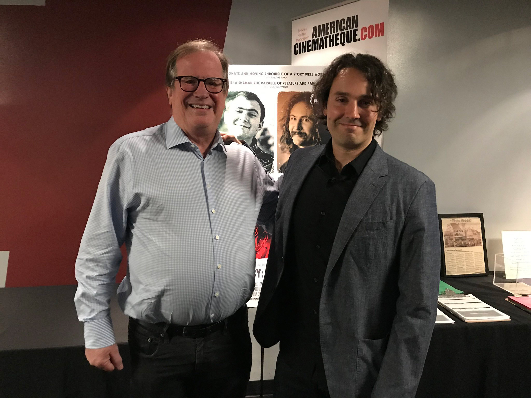 "Cinema Series host Pete Hammond with Director A.J. Eaton after a screening of ""David Crosby: Remember My Name"""