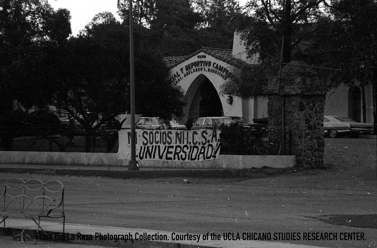 CSRC_LaRaza_B11F12S1_N020 Facade of Club Social y Deportive Campestre in Mexico | La Raza photograph collection. Courtesy of UCLA Chicano Studies Research Center