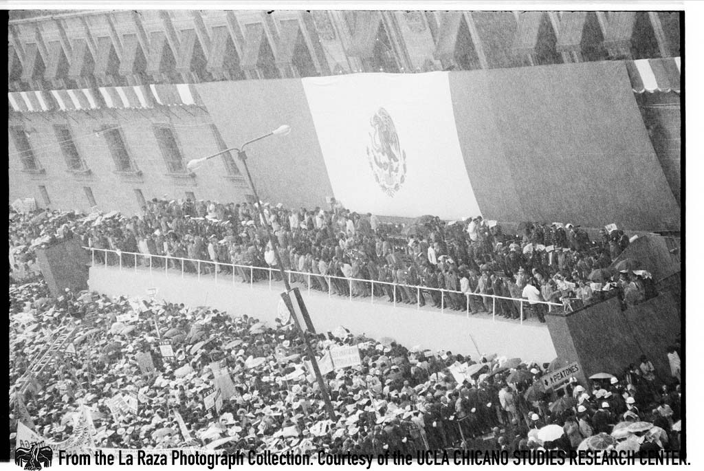 CSRC_LaRaza_B11F14C3_MM_006 People attend government-sponsored demonstration for workers in support of President Luis Echeverria in Mexico City | Maria Marquez Sanchez, La Raza photograph collection. Courtesy of UCLA Chicano Studies Research Center