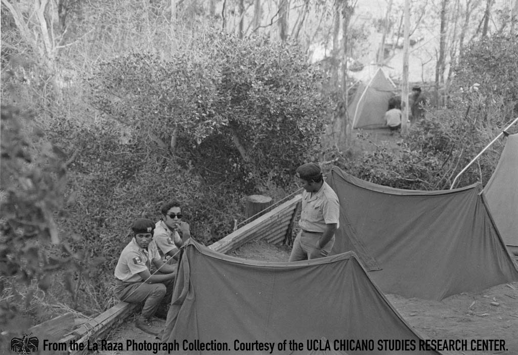CSRC_LaRaza_B12F4C2_MM_005 Brown Berets on Catalina Island | Maria Marquez Sanchez, La Raza photograph collection. Courtesy of UCLA Chicano Studies Research Center