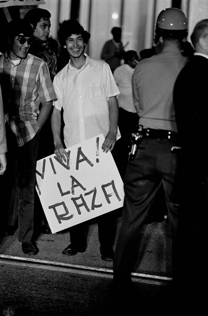 CSRC_LaRaza_B12F9C1_STAFF_008 Demonstration against the lack of Latinos in the movie industry and negative depictions in film | La Raza photograph collection. Courtesy of UCLA Chicano Studies Research Center