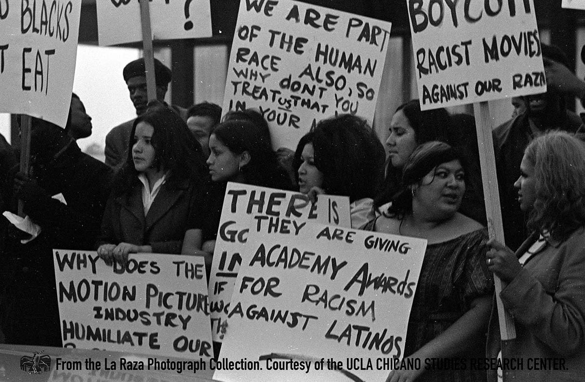 CSRC_LaRaza_B12F9S1_N010 Demonstration spurred by the lack of Latinos in the industry and negative depictions in film |  La Raza photograph collection. Courtesy of UCLA Chicano Studies Research Center