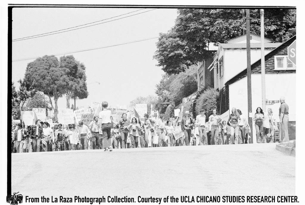 "CSRC_LaRaza_B15F14C1_Staff_006 Protesters demonstrate against President Richard Nixon in the ""Dump Nixon"" march from Echo Park to MacArthur Park 