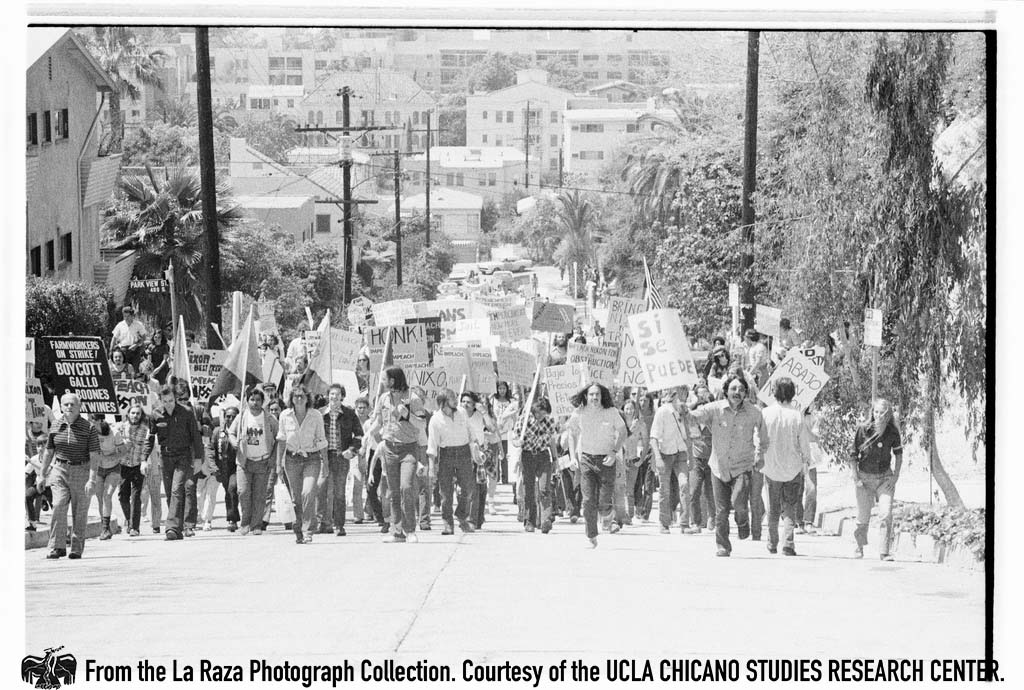 "CSRC_LaRaza_B15F14C1_Staff_011 Protesters demonstrate against President Richard Nixon in the ""Dump Nixon"" march from Echo Park to MacArthur Park 