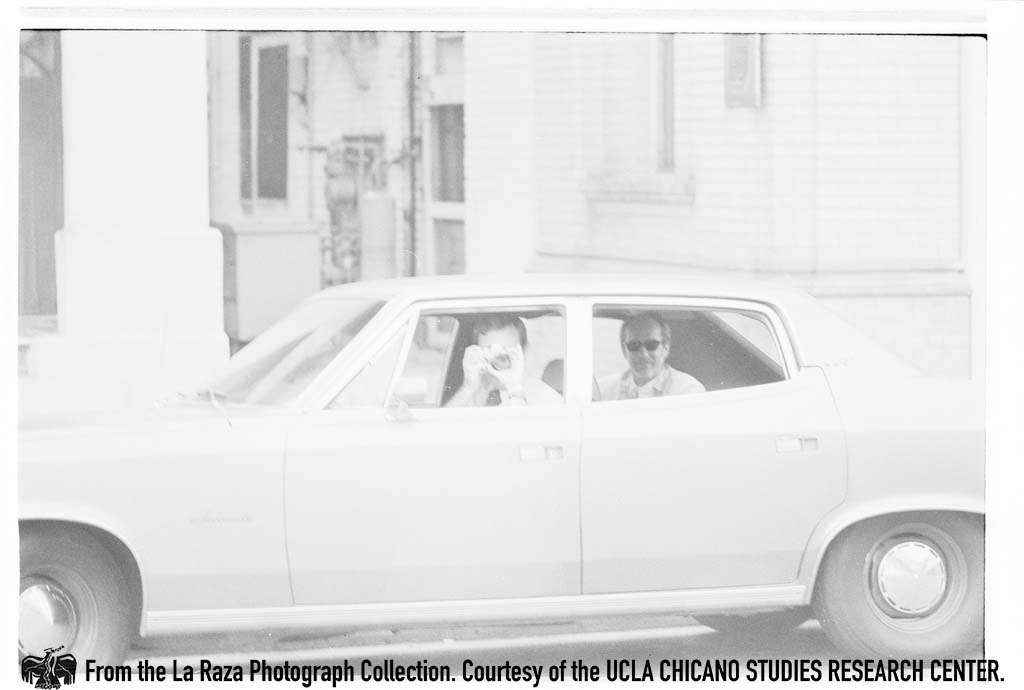 CSRC_LaRaza_B15F4C3_Staff_022 Man photographs at Magnolia Ave Elementary School during the Magnolia Boycott   Sixto Tarango, La Raza photograph collection. Courtesy of UCLA Chicano Studies Research Center
