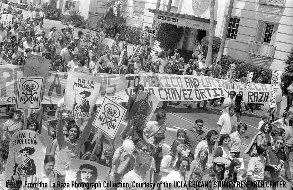 CSRC_LaRaza_B16F7S1_N006 Anti-Vietnam War March on Wilshire Boulevard  | La Raza photograph collection. Courtesy of UCLA Chicano Studies Research Center
