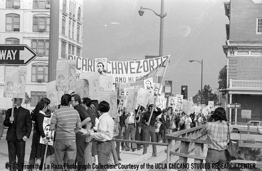 CSRC_LaRaza_B17F22S3_N008 March in support of Ricardo Chavez Ortiz in downtown Los Angeles | La Raza photograph collection. Courtesy of UCLA Chicano Studies Research Center