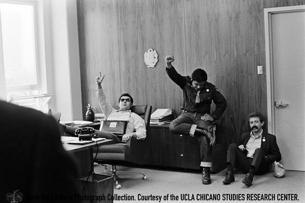 CSRC_LaRaza_B1F10C2_Staff_020 Luis Pingarron, a writer for Leauge of United Citizens to Help Addicts (LUCHA), attends an LAUSD Board of Education meeting on Carlos Martinez | La Raza photograph collection. Courtesy of UCLA Chicano Studies Research Center
