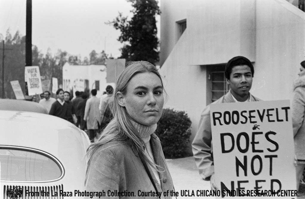 CSRC_LaRaza_B1F3C1_Staff_012 Devra Weber attends Roosevelt High School walkouts | La Raza photograph collection. Courtesy of UCLA Chicano Studies Research Center
