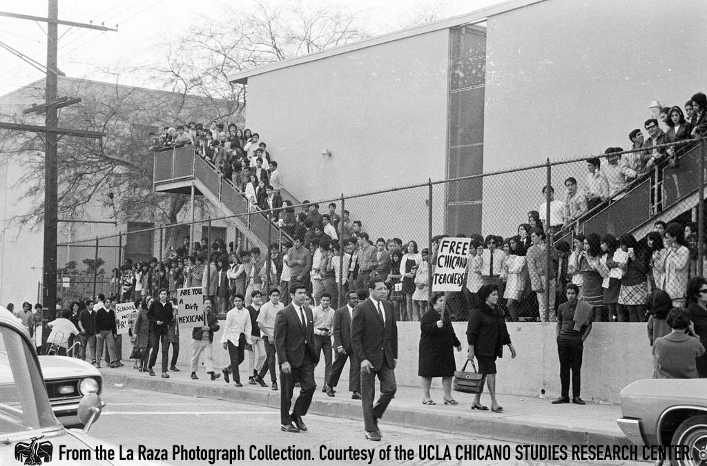 CSRC_LaRaza_B1F3C3_DW_021 Protesters during Roosevelt High School walkout | Devra Weber, La Raza photograph collection. Courtesy of UCLA Chicano Studies Research Center