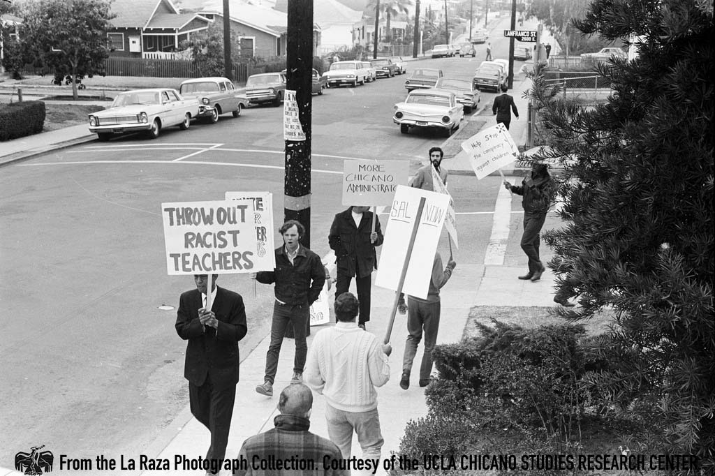 CSRC_LaRaza_B1F3C5_Staff_020 Protest at Roosevelt High School walkouts | La Raza photograph collection. Courtesy of UCLA Chicano Studies Research Center