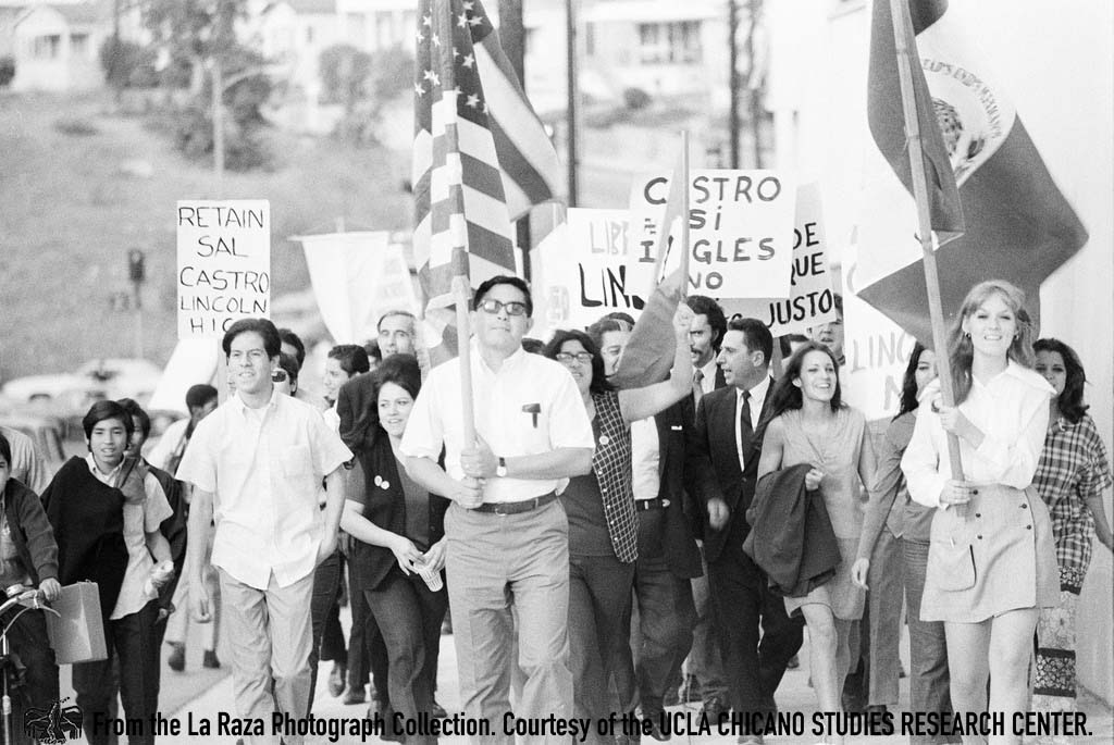 CSRC_LaRaza_B1F6C2_LG_012 Protesters demand reinstatement of Sal Castro | Luis Garza, La Raza photograph collection. Courtesy of UCLA Chicano Studies Research Center