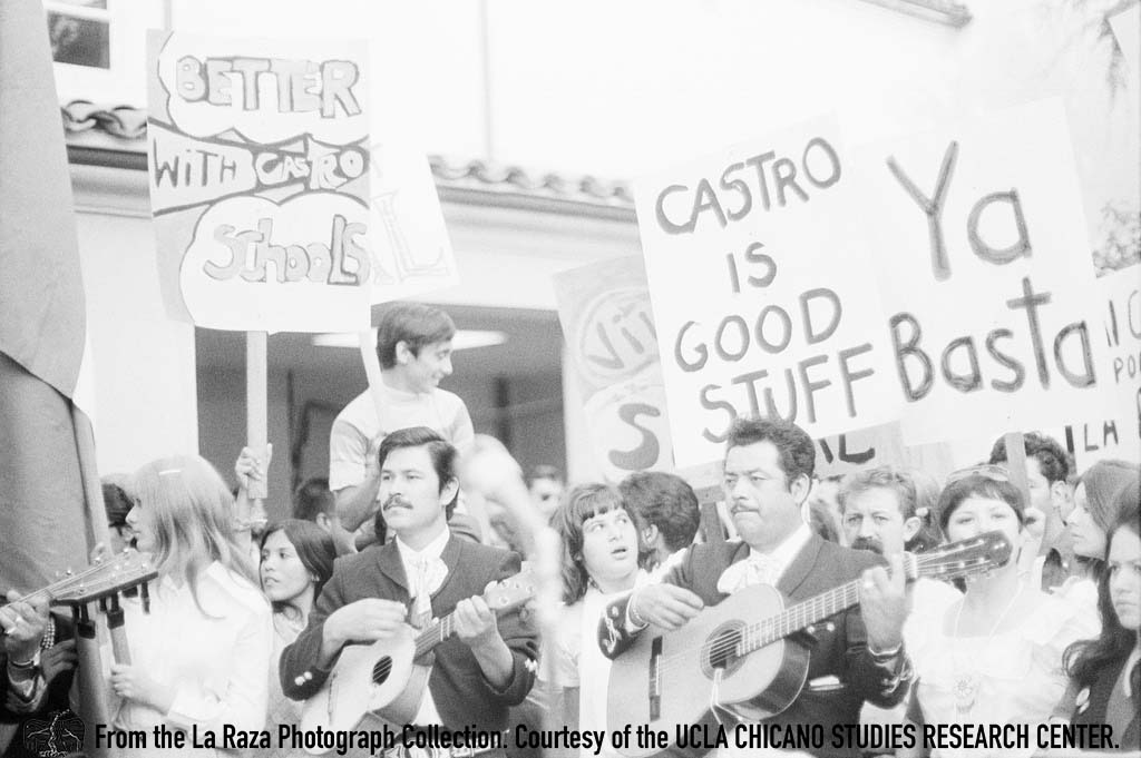 CSRC_LaRaza_B1F6C2_LG_022 Protesters and Luis Pingarron, writer for LUCHA, demand reinstatement of Sal Castro | Luis Garza, La Raza photograph collection. Courtesy of UCLA Chicano Studies Research Center