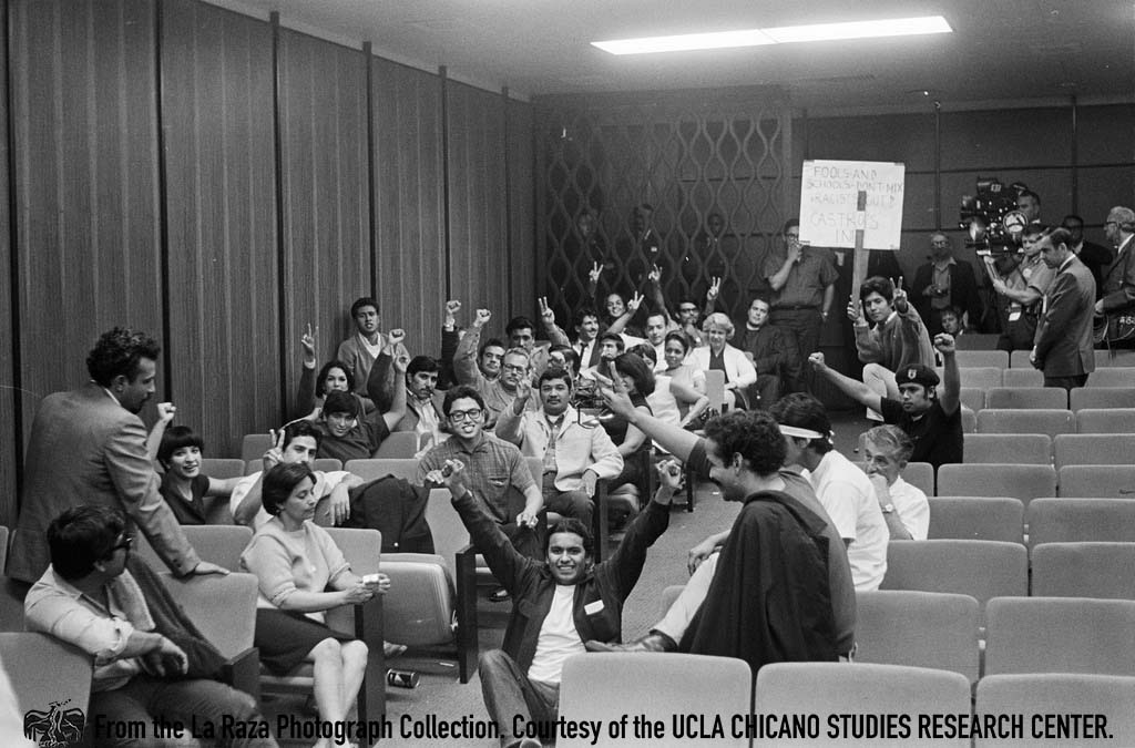 CSRC_LaRaza_B1F7C16_DW_009 Manuel Mancela and members of the Brown Berets attend sit-in at a LAUSD Board of Education meeting | Devra Weber, La Raza photograph collection. Courtesy of UCLA Chicano Studies Research Center