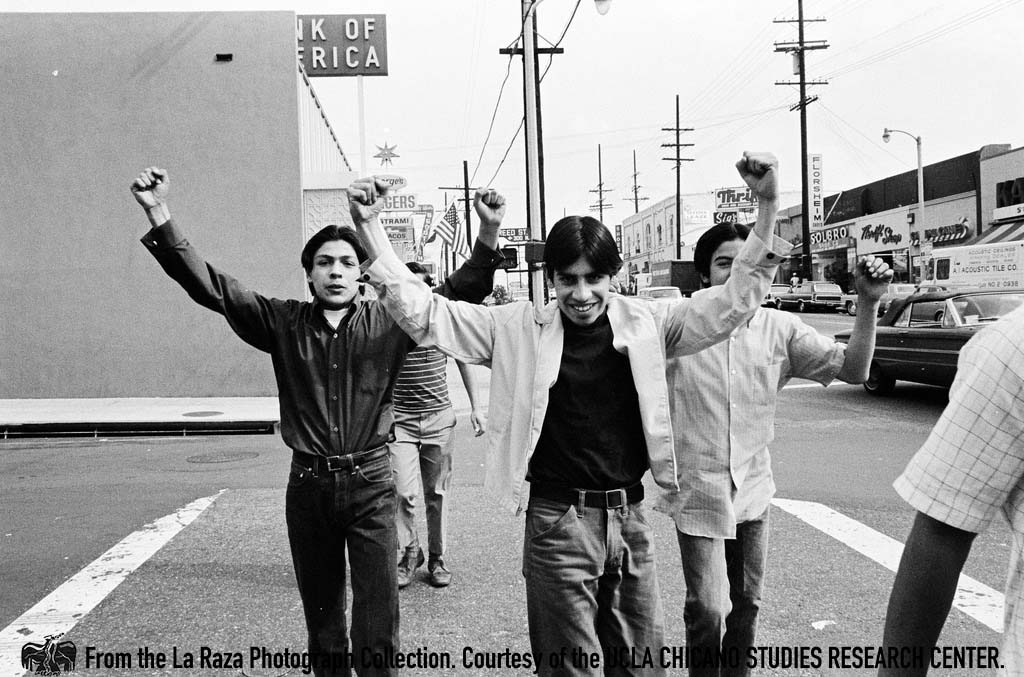 CSRC_LaRaza_B2F5C1_Staff_017 Protesters at Roosevelt High School strike | La Raza photograph collection. Courtesy of UCLA Chicano Studies Research Center
