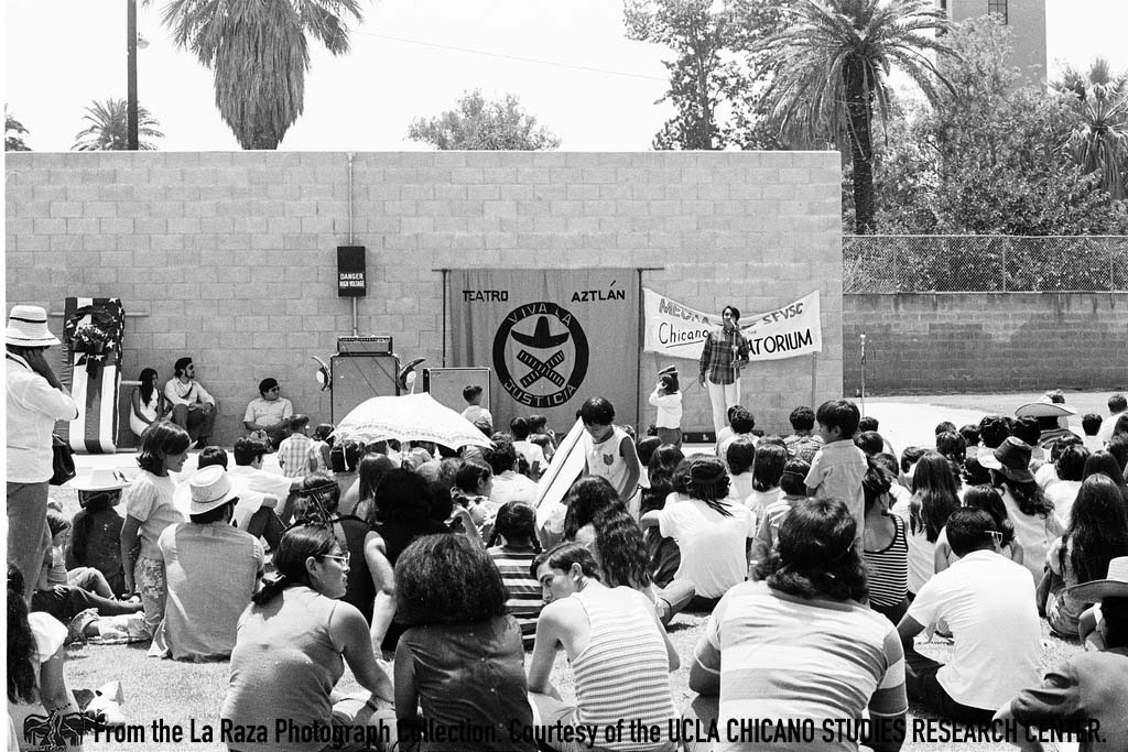 CSRC_LaRaza_B5F2C1_RR_024 Rosalio Muñoz speaks at the San Fernando Moratorium | Raul Ruiz, La Raza photograph collection. Courtesy of UCLA Chicano Studies Research Center