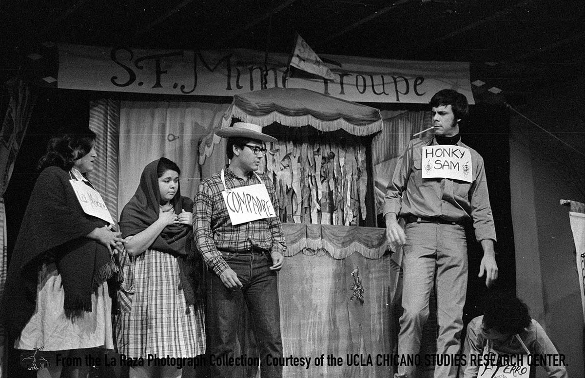 CSRC_LaRaza_B9F6S1_N014 People in a theatrical performance | La Raza photograph collection. Courtesy of UCLA Chicano Studies Research Center