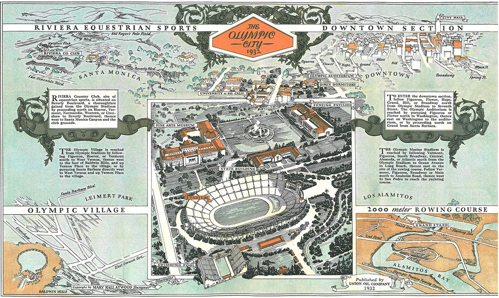Map detailing sporting venues for the 1932 Olympic