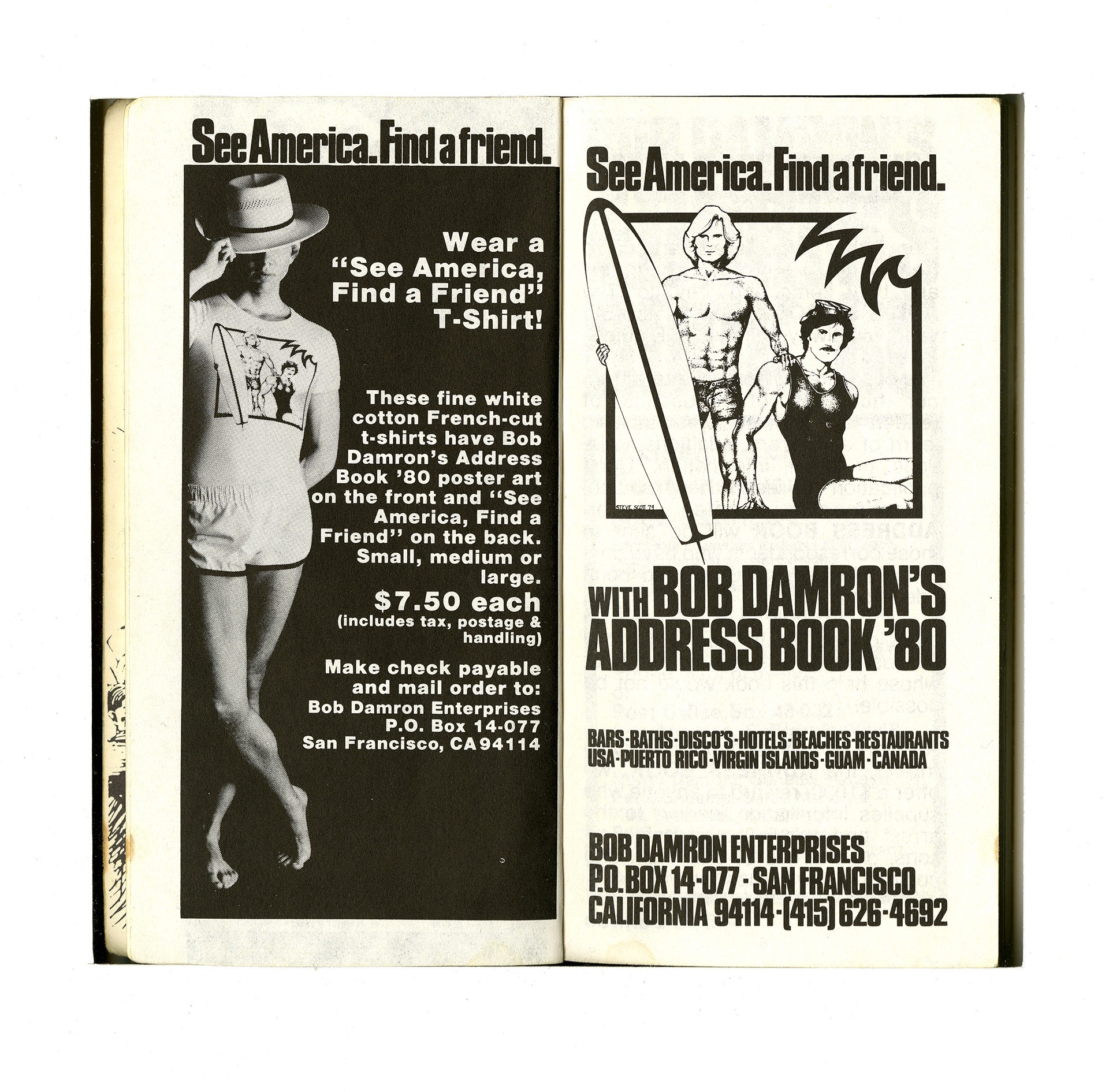 Interior pages from the 1980 Los Angeles edition of the Damron Guide.
