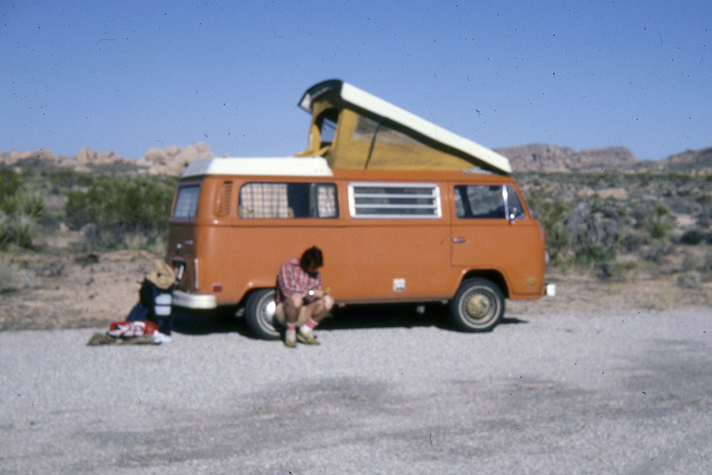 Dan Zacks with his VW wagon at Joshua Tree National Monument, circa mid-1970s | Dan Zacks