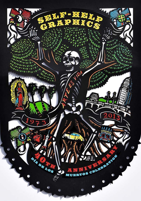 """Arte es Vida"" by Daniel Gonzalez (2013 Commemorative Dia de Los Muertos Print) | Courtesy of Self Help Graphics & Art"