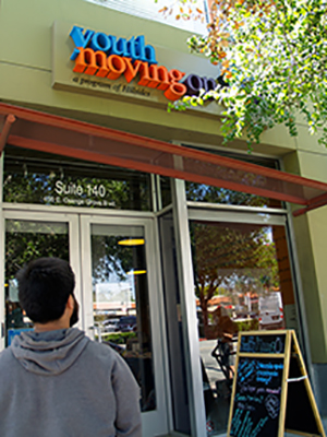 David Torres outside Youth Move On i Pasadena | photo by Elizabeth Aguilera CALmatters