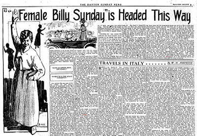 Dayton Sunday News coverage of Aimee Semple McPherson's visit