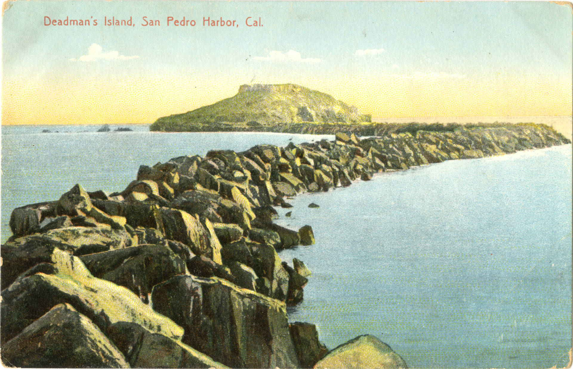 As one of the San Pedro Bay's most conspicuous features, Dead Man's Island became something of a landmark. Postcard by M. Reider, courtesy of the James H. Osborne Photograph Collection, CSUDH Archives.