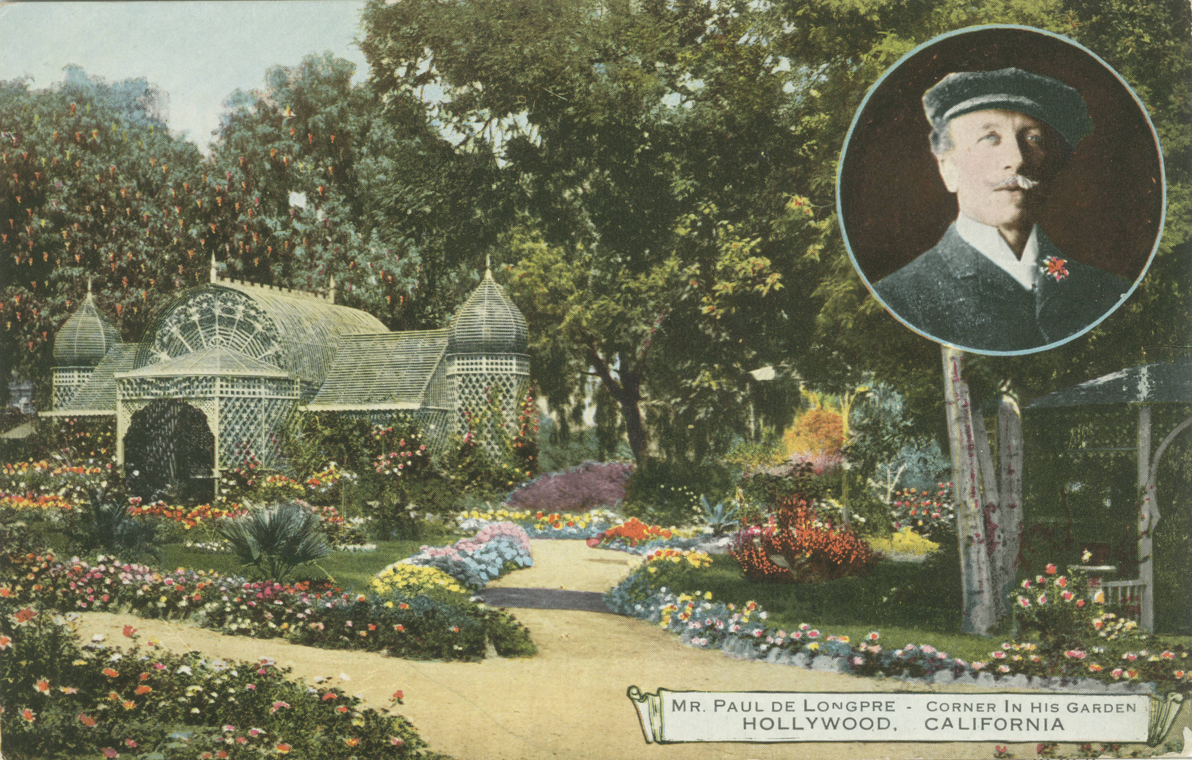 Postcard of Paul De Longpre's Hollywood garden