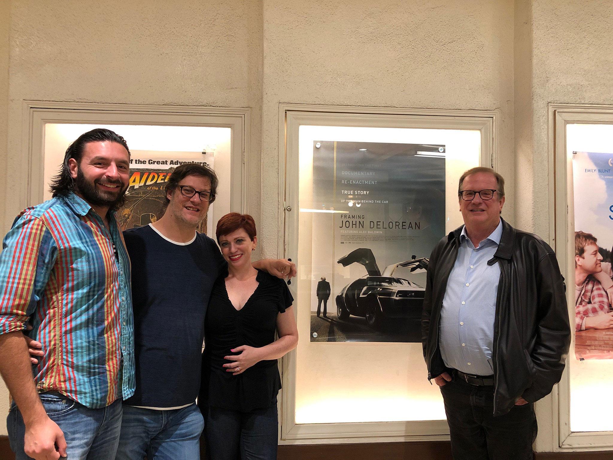 "Cinema Series host Pete Hammond, Producer Tamir Ardon and Directors Don Argott and Sheena M. Joyce after a screening of ""Framing John Delorean"""