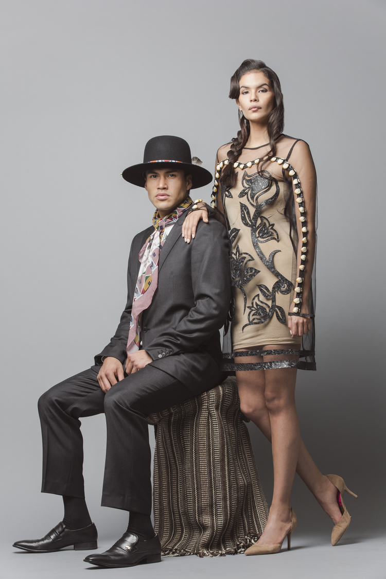 Models Martin Sensmeier and Jade Whillouby wear clothing from Los Angeles designer Bethany Yellowtail's b.yellowtail line from spring 2015.