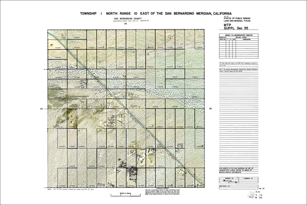 A modified survey plat of Section 35 in Wonder Valley, California, showing the Worth Brewer Homestead parcel south of State Highway 62. | Collection of Kim Stringfellow