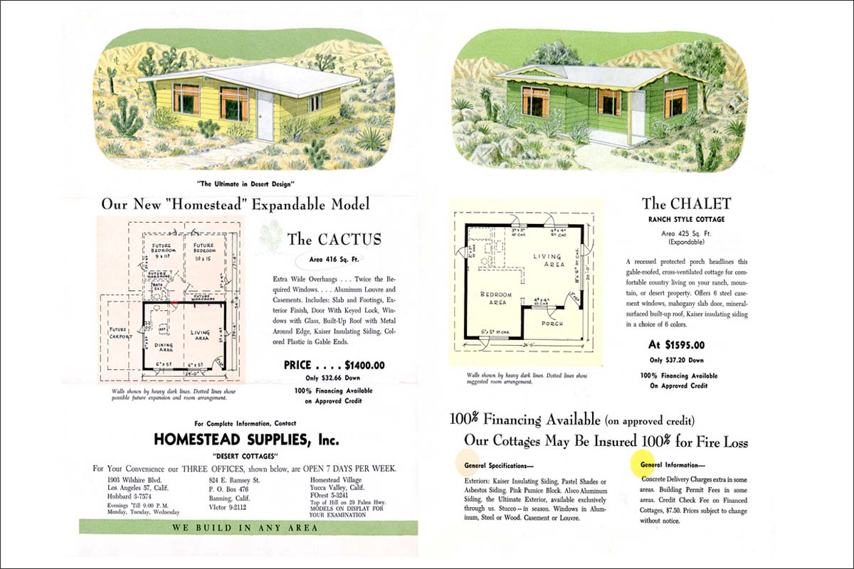Many Small Tract homesteaders opted for commercially available recreational cabins that fulfilled basic federal and county structural requirements. | Collection of Kim Stringfellow