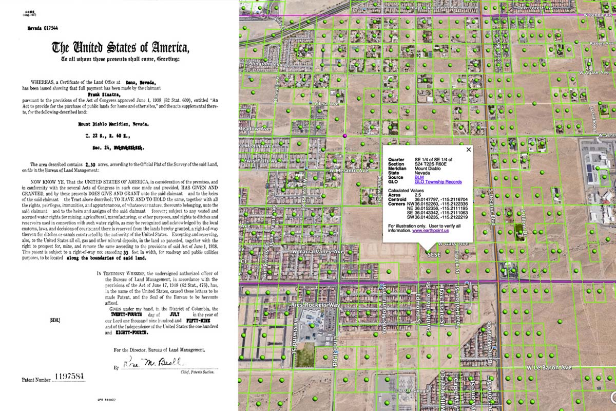 Frank Sinatra's Small Tract Patent No. 1197584 from 1959. | Bureau of Land Management General Land Office Records. The map shows the location of his 2.5-acre parcel located in southwest Las Vegas, Nevada.