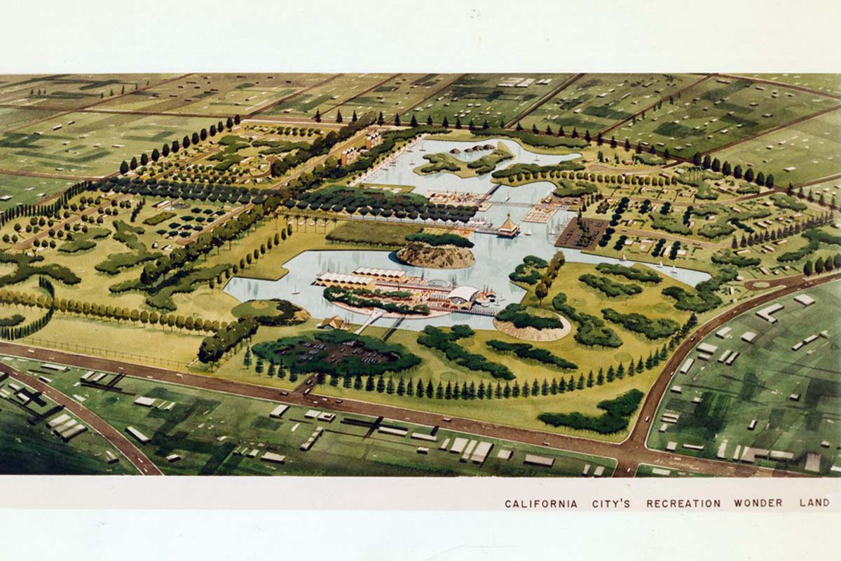 A concept rendering by Smith and Williams picturing the recreational center of California City's 1st community. | Smith & Williams records, Architecture and Design Collection. Art, Design & Architecture Museum; University of California, Santa Barbara