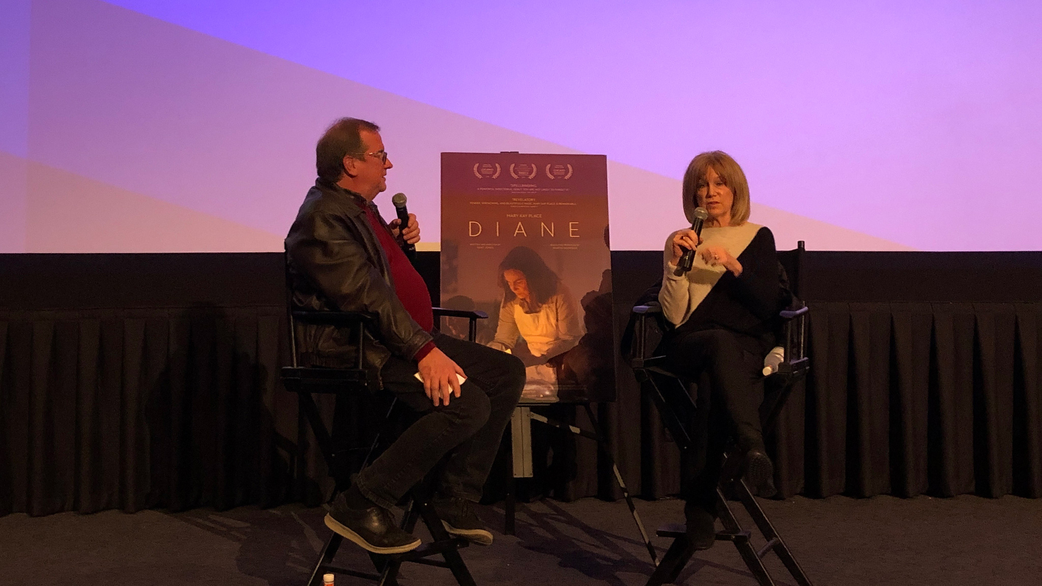 "Cinema Series host Pete Hammond and Actor Mary Kay Place participate in a Q&A discussion after a screening of ""Diane"""