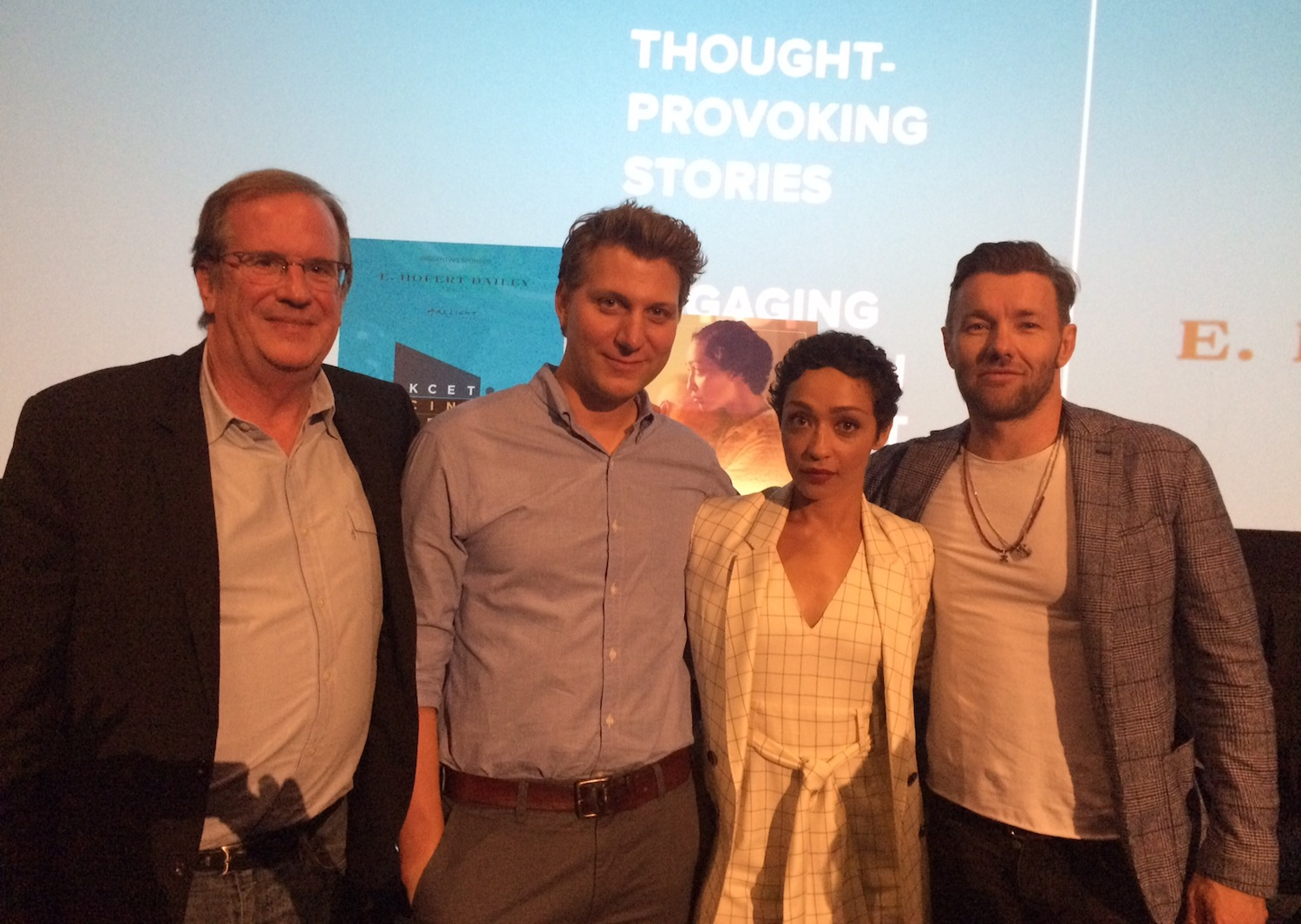 "Pete Hammond, Jeff Nichols, Ruth Negga and Joel Edgerton at the KCET Cinema Series screening for ""Loving."""
