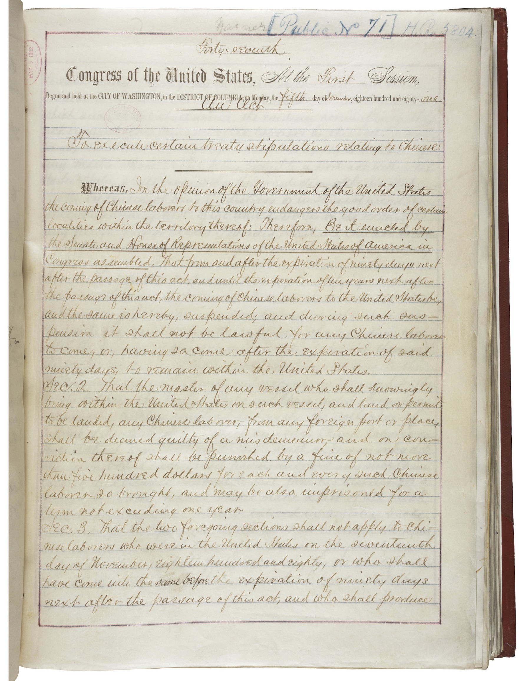 First page of the Chinese Exclusion Act of 1882